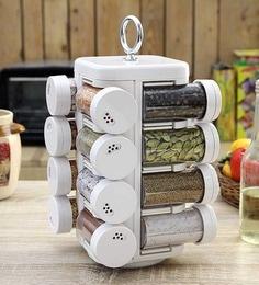 JVS Kitchen Mate White 100 ML (Each) Spice Rack   Set Of 16 ...