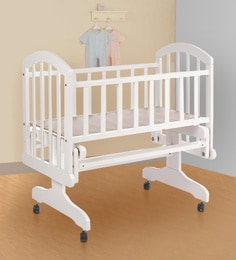 Perge Solid Wood Baby Cot In White Colour
