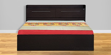 Pearl Queen Size Bed With Box Storage In Wenge Finish