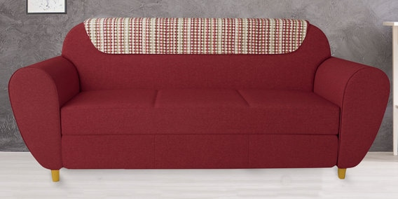 Petal Three Seater Sofa in Indian Red Color