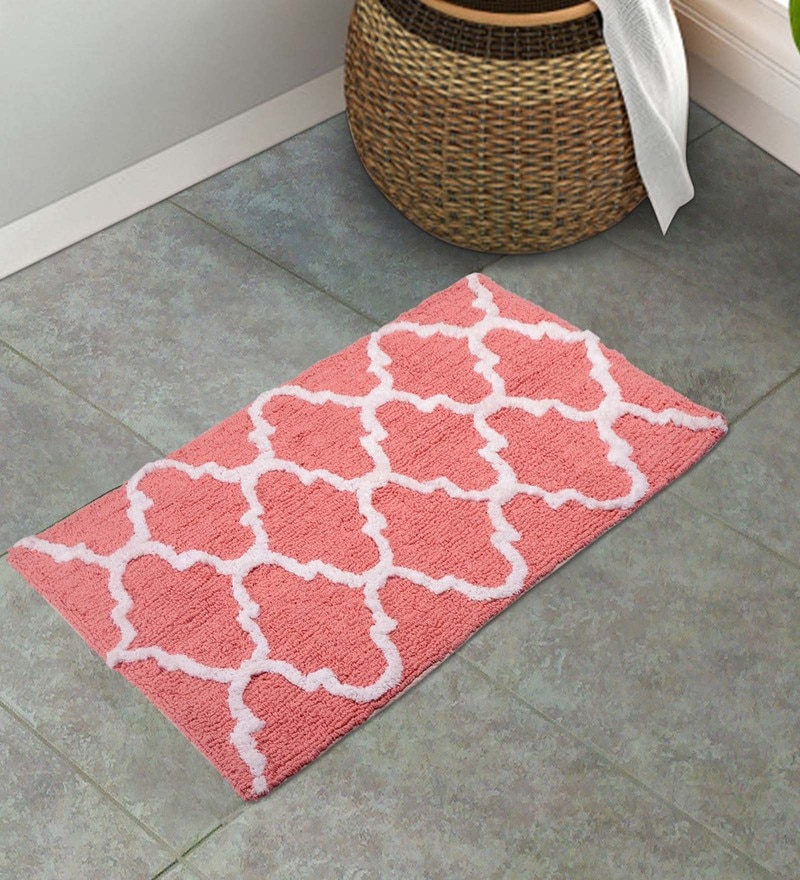 Peach 100% Cotton 20 x 32 Inch Mat by S9home by Seasons