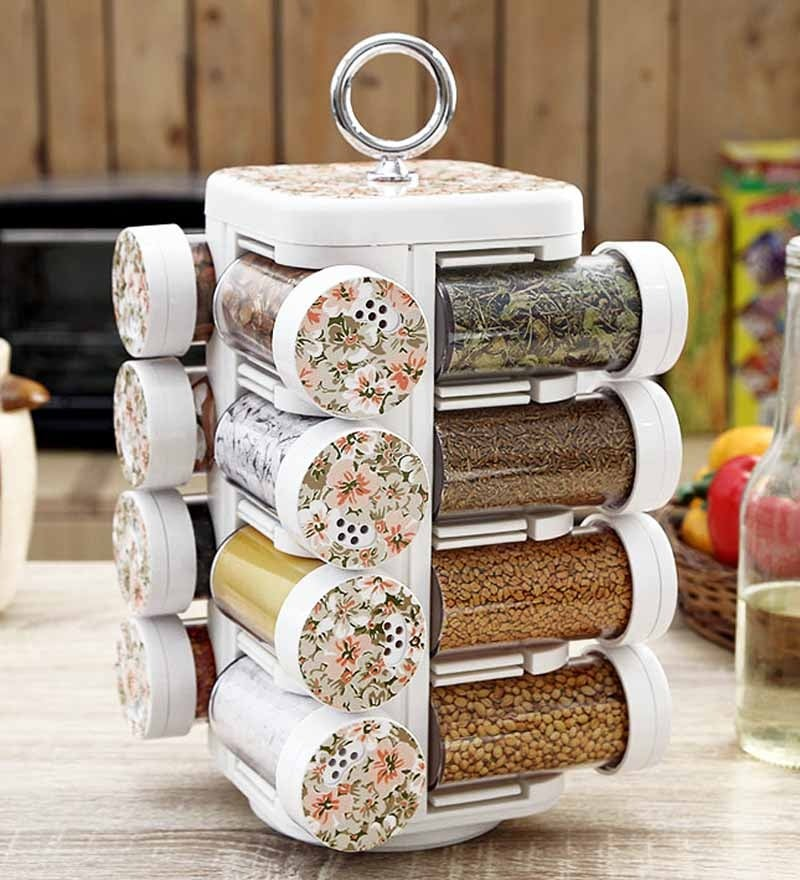 JVS Kitchen Mate White 100 ML (Each) Spice Rack - Set of 16