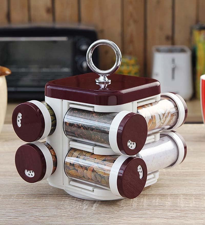 JVS Kitchen Mate Burgundy 100 ML (Each) Spice Rack - Set of 8