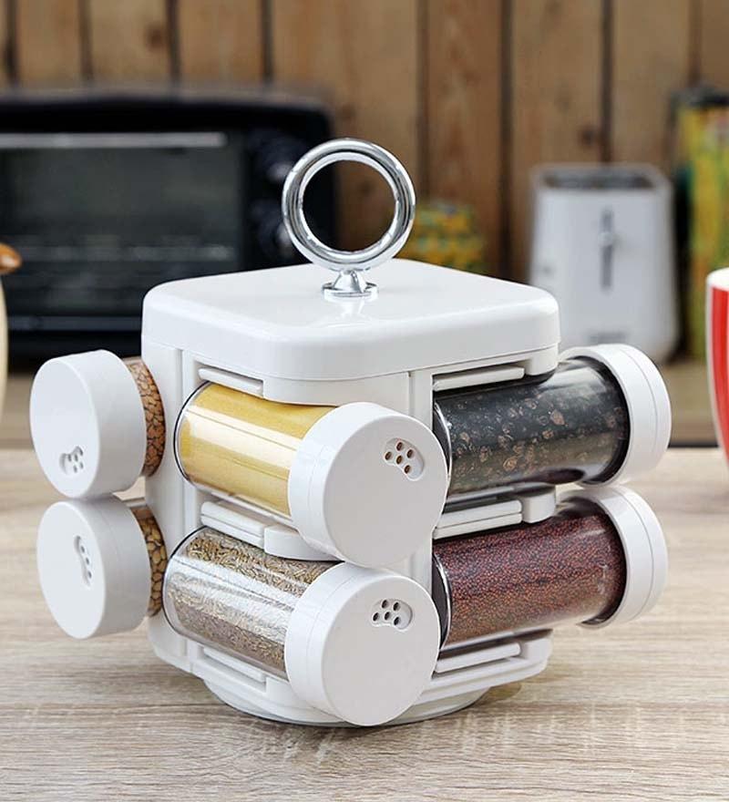 Jvs Kitchen Mate White 100 ML (Each) Spice Rack - Set of 8