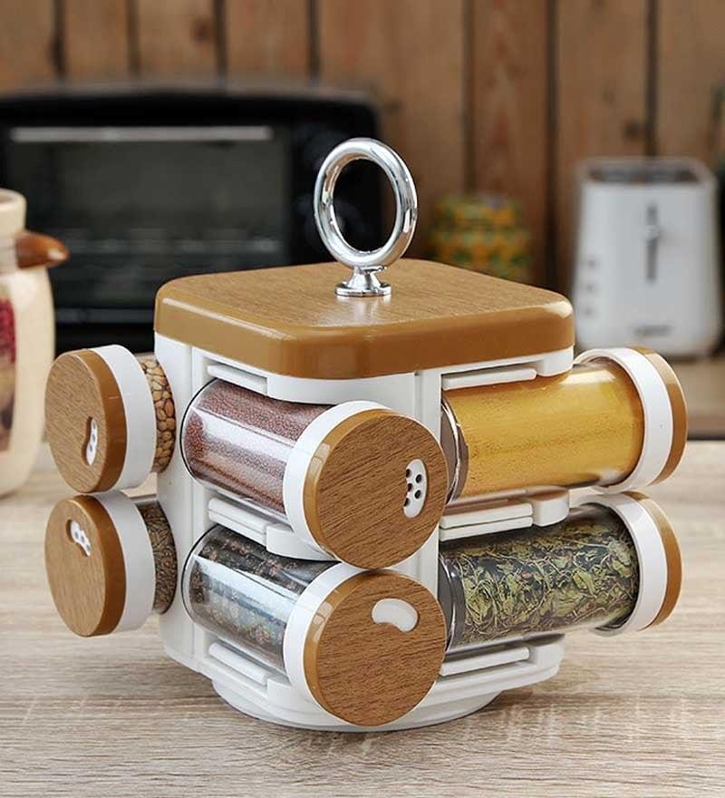 JVS Kitchen Mate Wood Finish Spice Rack -  Set of 8