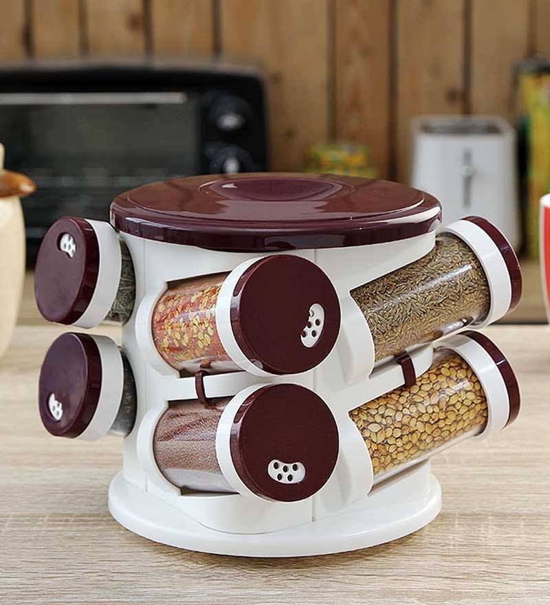 JVS Solid Burgundy Majestic Spice Tower  - Set  Of 8