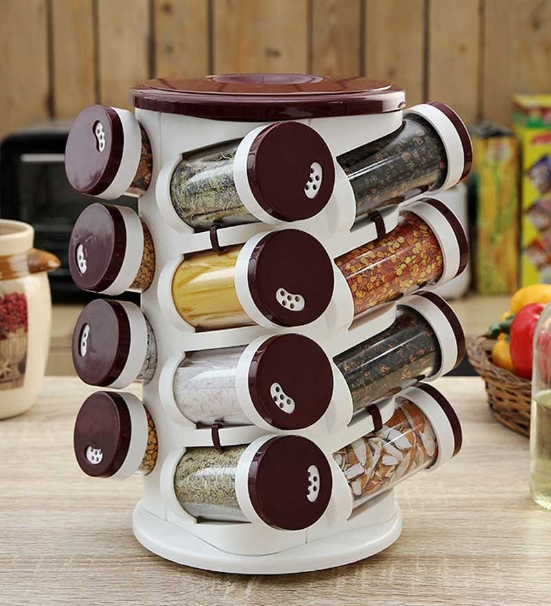 JVS Burgundy 100 ML (Each) Spice Rack - Set of 16