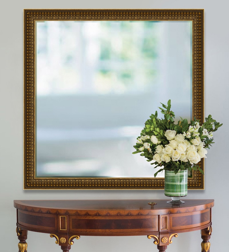 Antique Gold Synthetic Wood Minimalist Wall Mirror by Elegant Arts and Frames