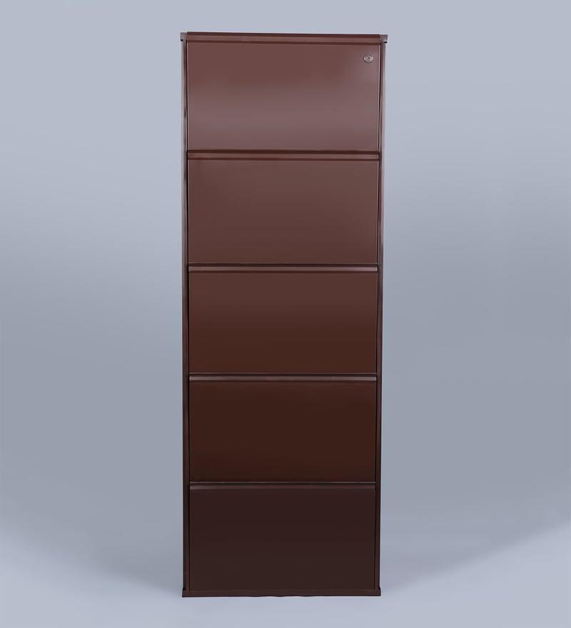 Buy Five Door Steel Shoe Rack In Brown Colour By Peng