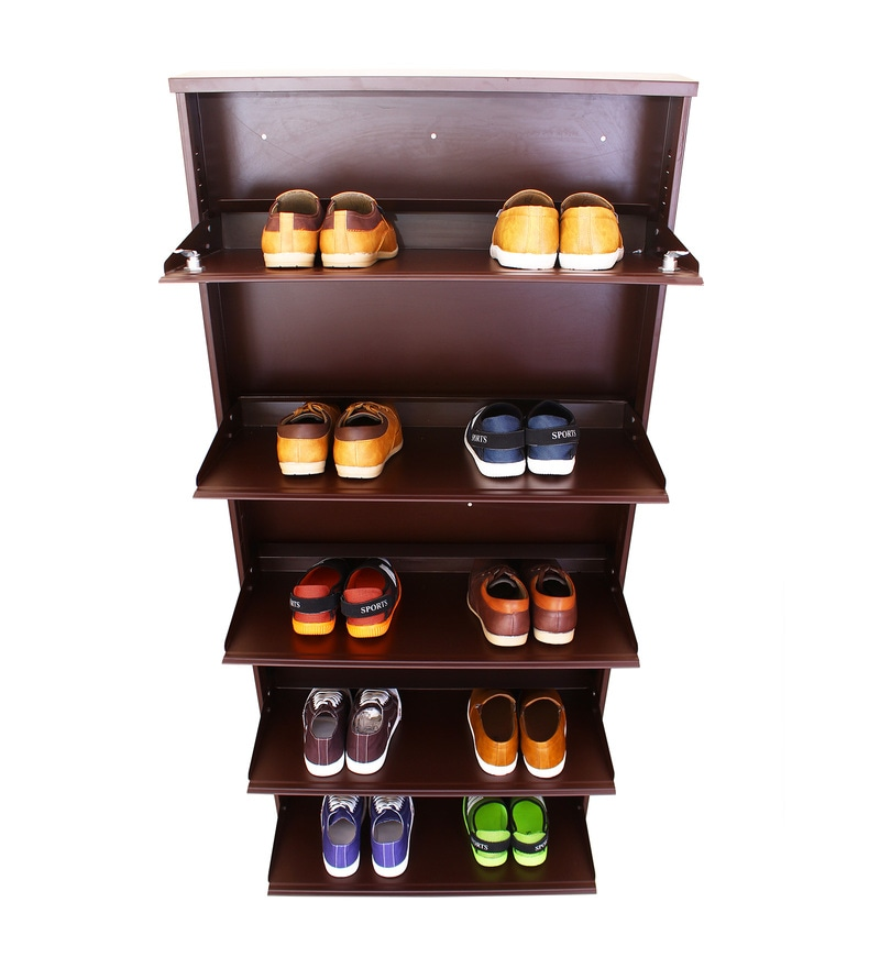 Peng Essentials Spacesaver Super Wide Steel Brown 5 Level Shoe Rack