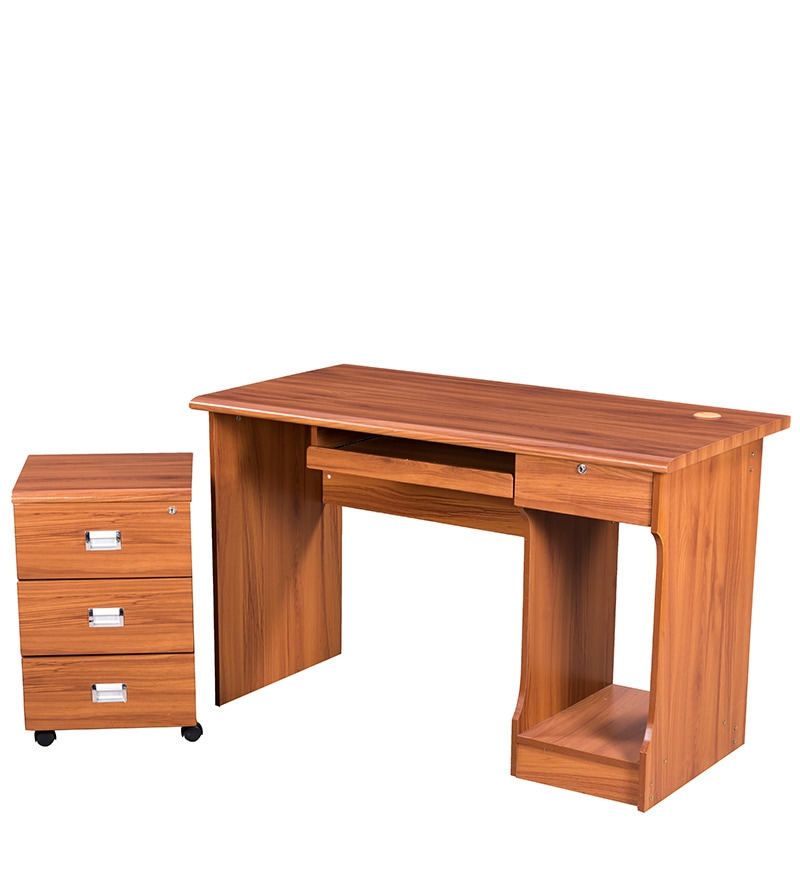 Buy Petal Computer Table with Drawers in Maple Finish by Royal Oak