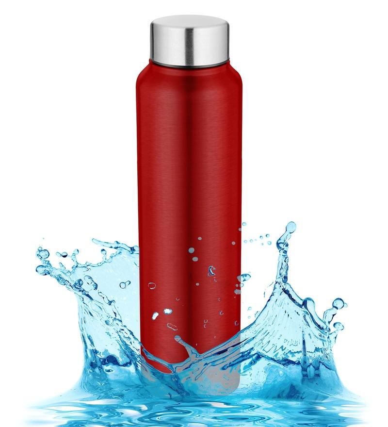 Pexpo Chromo Series Ideale Red Stainless Steel 1 L Elegant Water Bottle
