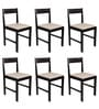 Peter Set of Six Chairs in Wenge Finish with Beige Cushion by Forzza