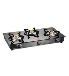 Pigeon Brass 3 Burner Gas Stove at pepperfry