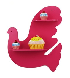 Pink MDF Decorative Pigeon Wall Shelf
