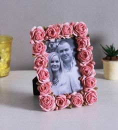Pink Resin & Plastic 6 X 1 X 8 Inch Rose Shaped Photo Frame