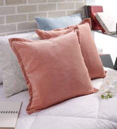 Pink Velvet 20x20 Inch Cushion Covers - Set Of 2