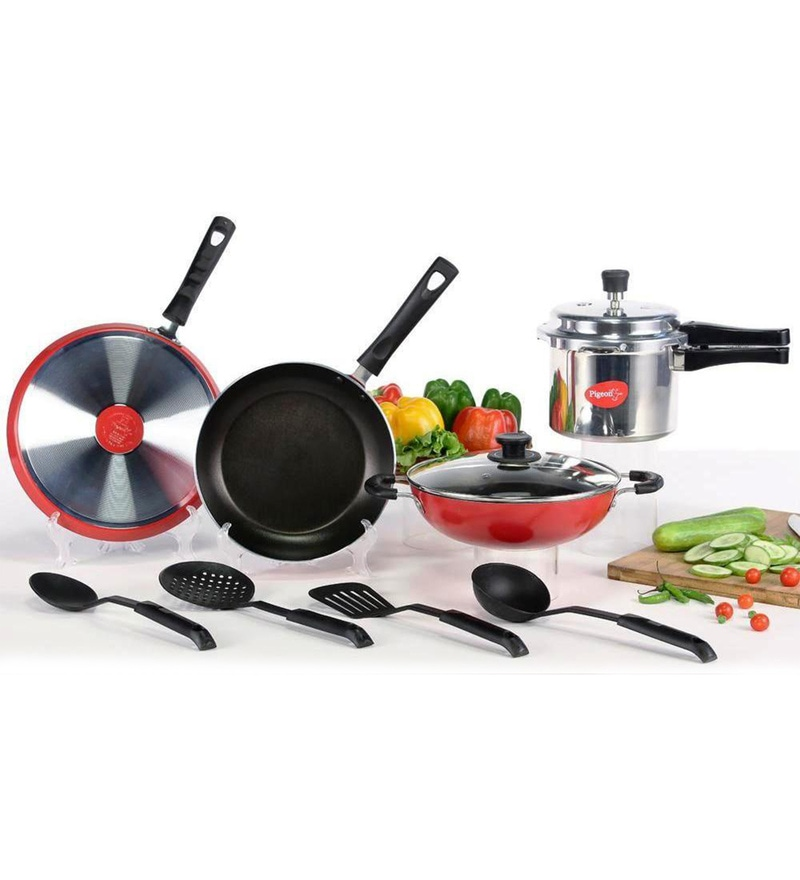 Aluminium Cookware Combo with Pressure Cooker - Set of 7 by Pigeon