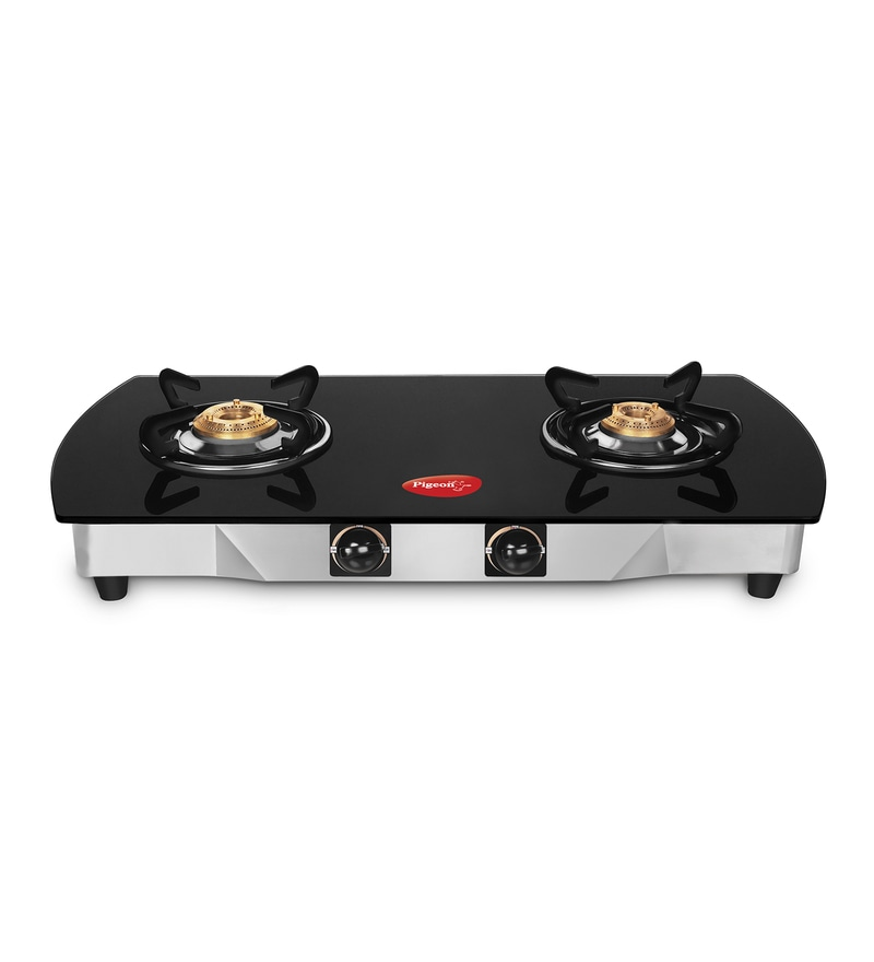 Pigeon Blackline Oval Jumbo Toughened Glass 2 Burner Gas Stove