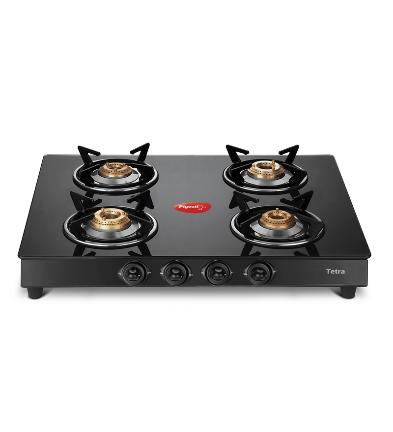 Pigeon Blackline Tetra Toughened Glass 4 Burner Gas Stove