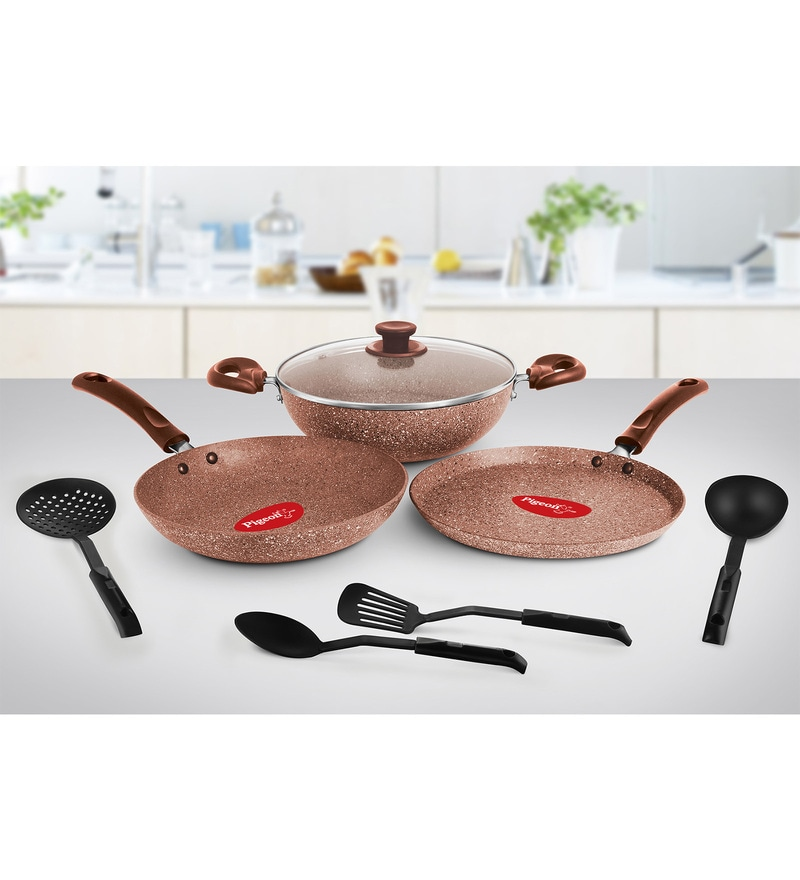 Earthy Brown Granito Series Aluminium Cookware Set - Set of 7 by Pigeon