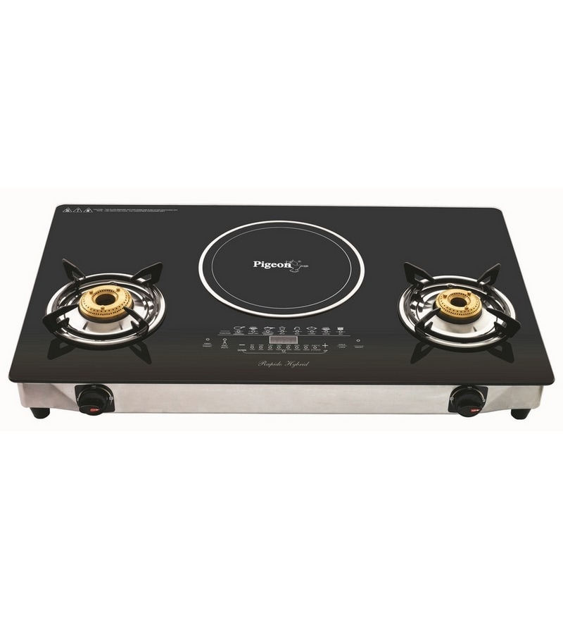 Pigeon Aspira Hybrid 2 LPG Burner with Induction Cooktop -28 x 15 x 2 Inches