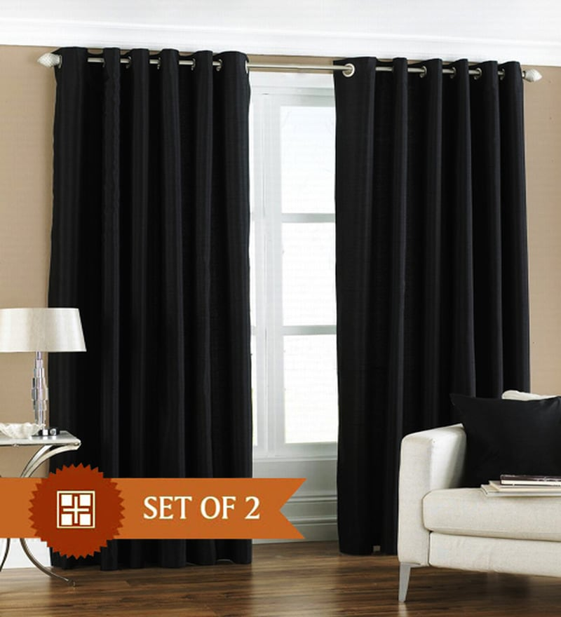 Black Polyester 84 x 48 Inch Solid Eyelet Door Curtain - Set of 2 by PIndia
