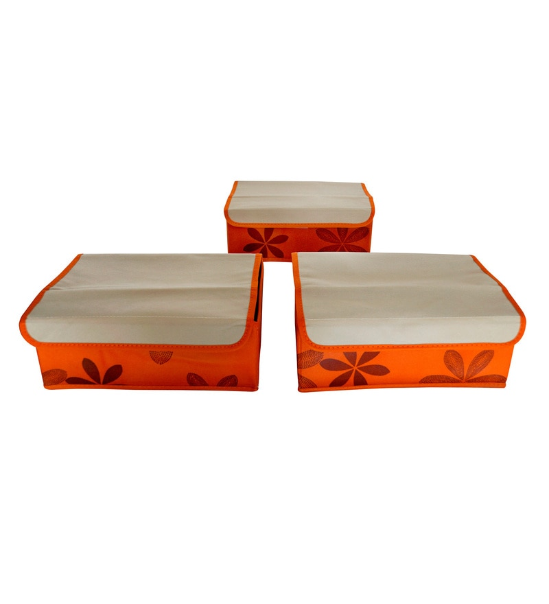 Fabric Orange & Beige Storage Box - Set of 3 by PIndia