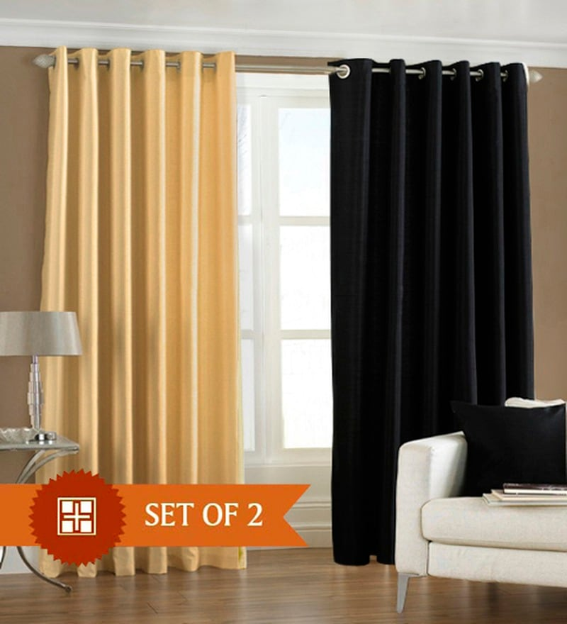 Fawn Black Polyester 84 x 48 inch Eyelet Door Curtain - Set of 2 by PIndia