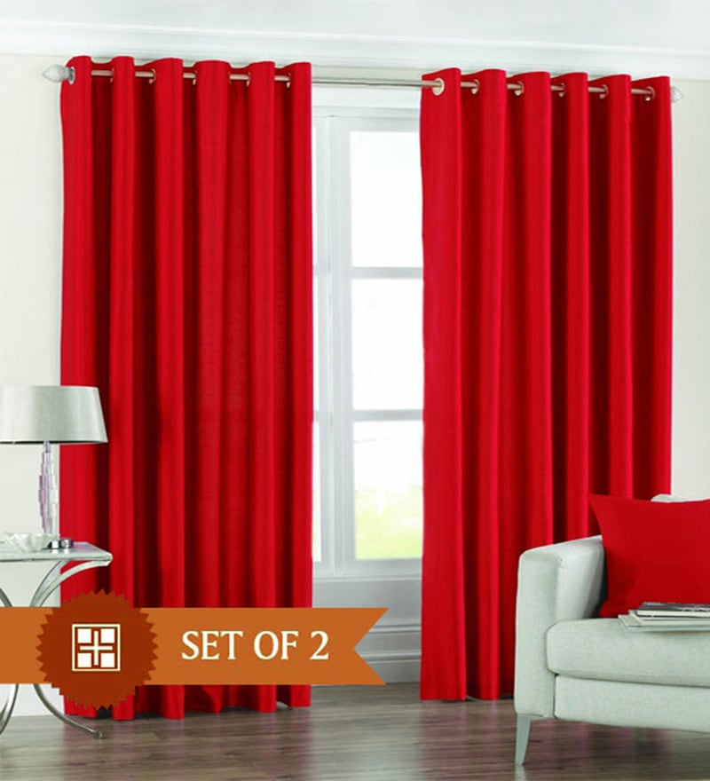 Red Polyester 60 x 48 Inch Solid Eyelet Window Curtain - Set of 2 by PIndia