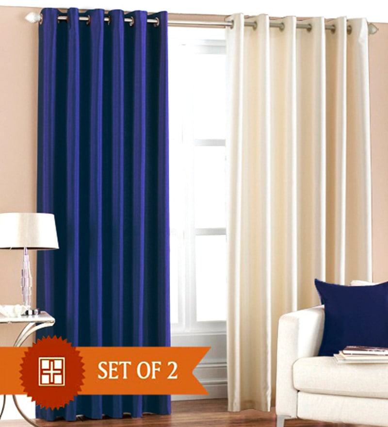 Blue & White Polyester 60 x 48 Inch Solid Eyelet Window Curtain - Set of 2 by PIndia