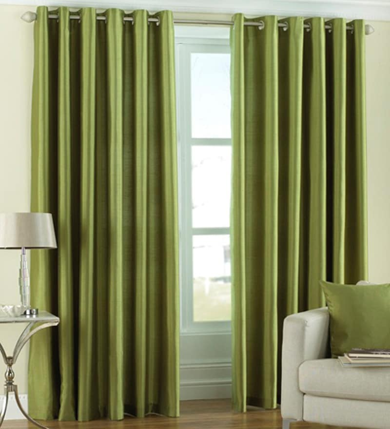 Green Polyester 84 x 48 Inch Solid Eyelet Door Curtain - Set of 2 by PIndia