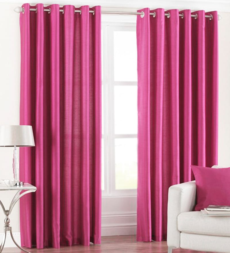 Pink Polyester 84 x 48 Inch Solid Eyelet Door Curtain - Set of 2 by PIndia
