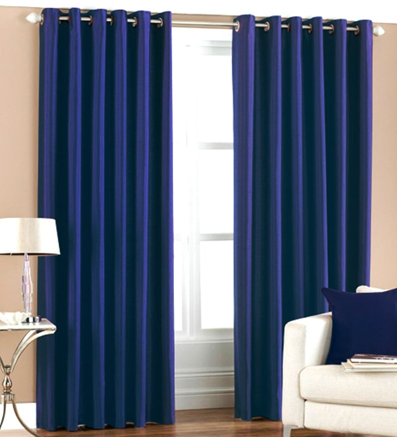 Blue Polyester 84 x 48 Inch Solid Eyelet Door Curtain - Set of 2 by PIndia