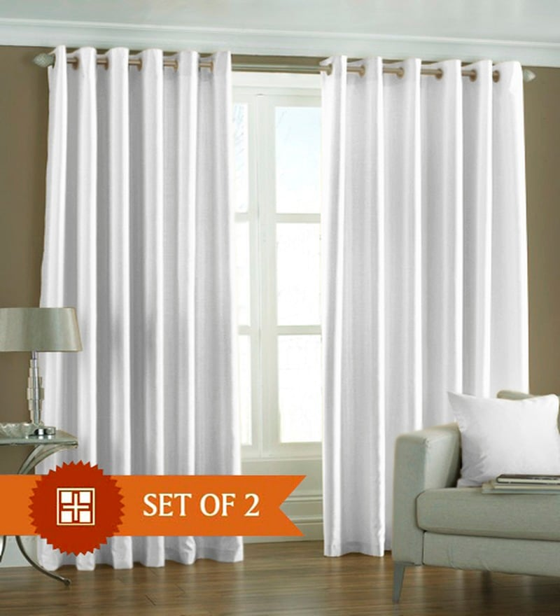White Polyester 84 x 48 Inch Solid Eyelet Door Curtain - Set of 2 by PIndia