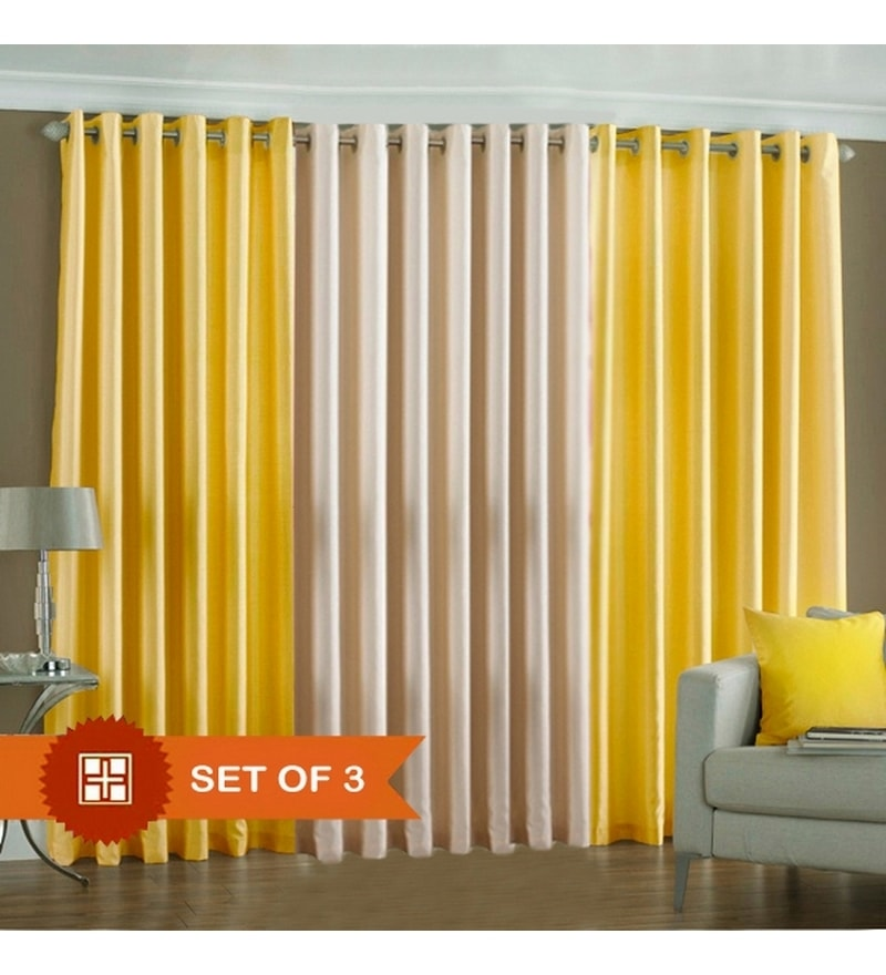 Yellow & White Polyester 60 x 48 inch Solid Eyelet Window Curtain - Set of 3 by PIndia