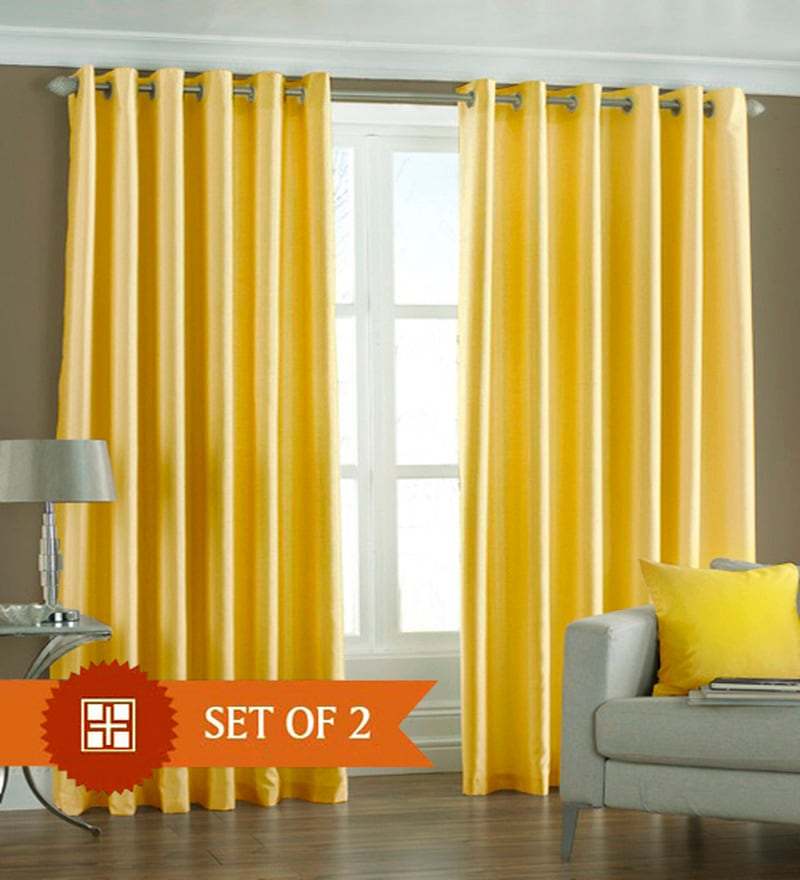 Yellow Polyester 60 x 48 Inch Solid Eyelet Window Curtain - Set of 2 by PIndia