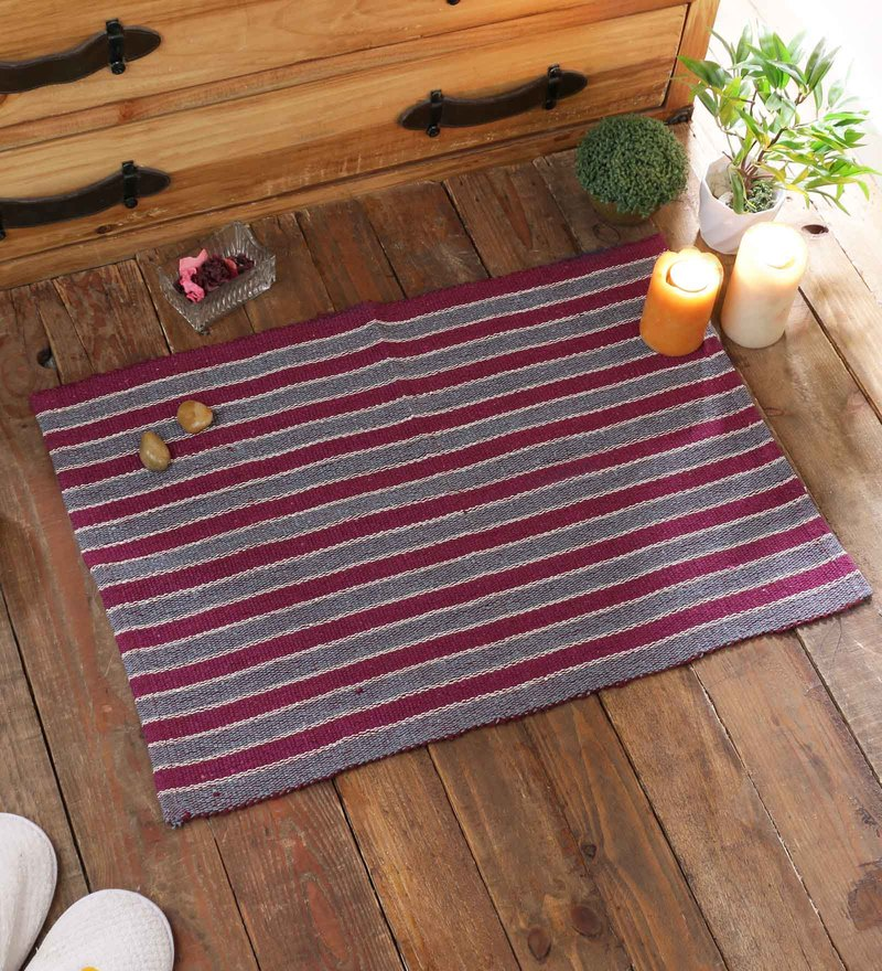 Pink Cotton 20 x 30 Inch Door Mat by SWHF