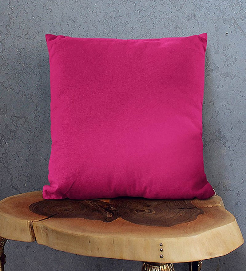 Pink Cotton 23.5 x 23.5 Inch Cushion Covers - Set of 2 by Encasa Homes