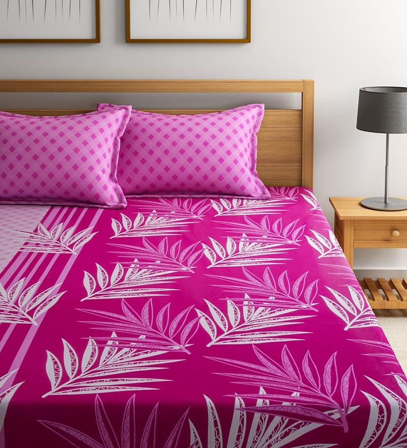 Pink Cotton Queen Size Vienna Bedsheet - Set of 3 by Portico New York