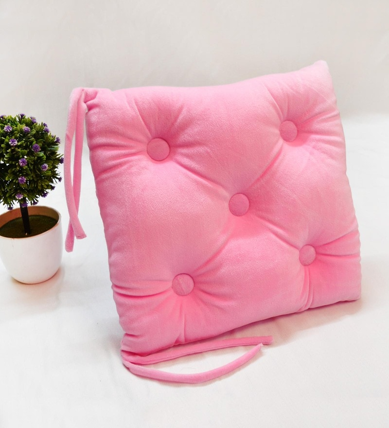 Pink Microfiber and Velvet 16 x 16 Inch Chair Pad by StyBuzz