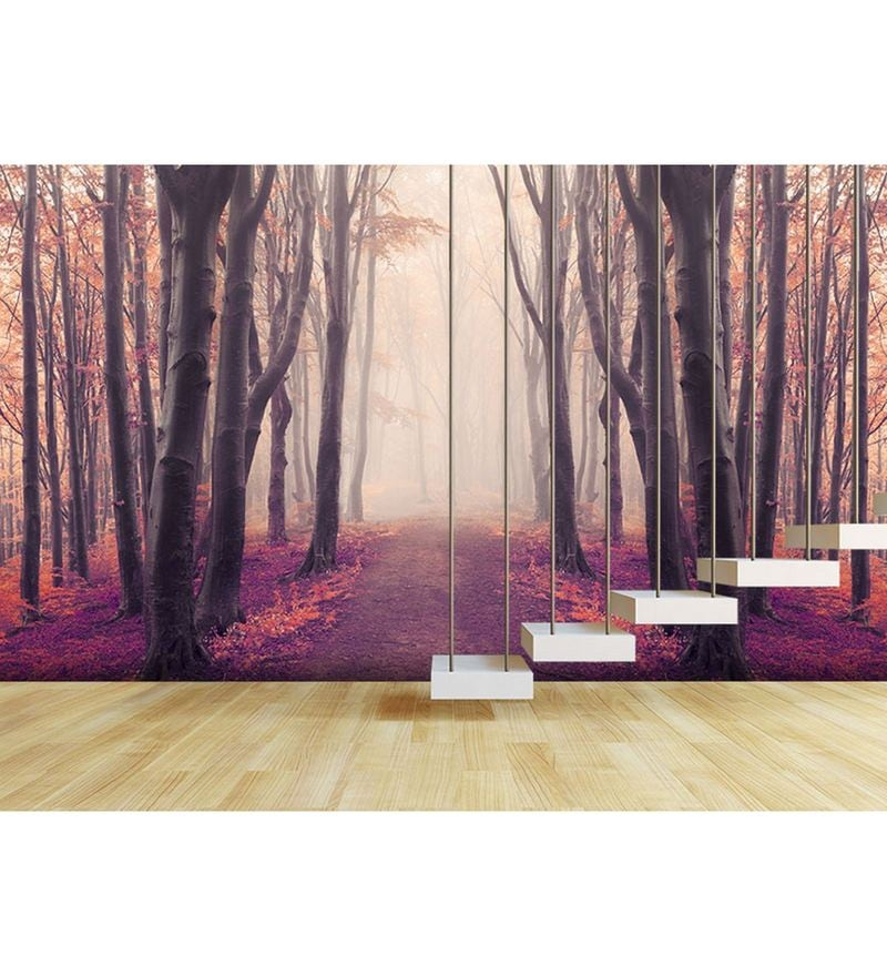Pink Non Woven Paper Into The Wilderness Wallpaper by Wallskin