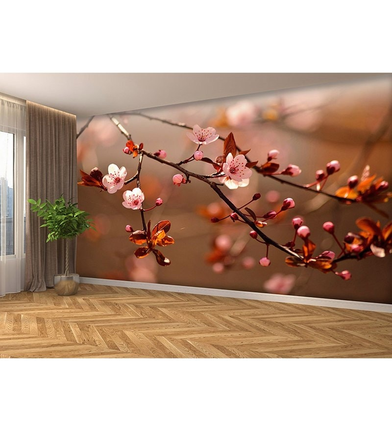 Pink Non Woven Paper The Beauty Of Flowers Wallpaper by Wallskin