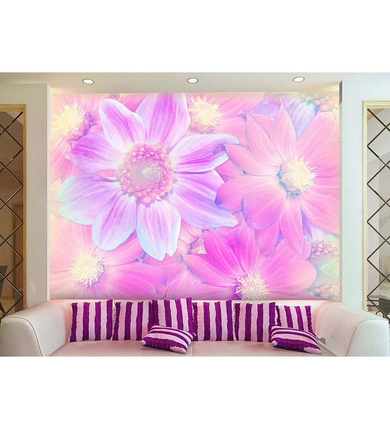 Pink Non Woven Paper The Life Of Flowers Wallpaper by Wallskin