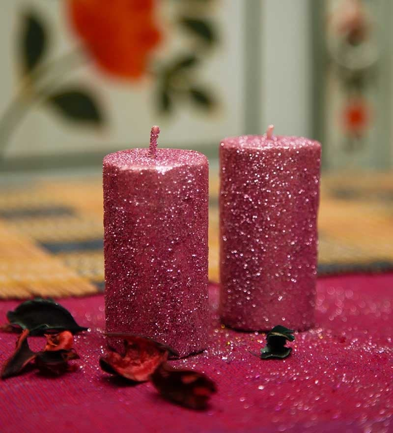 Pink Set Of 2 Decorative Pillar Shaped Sparkle Candle