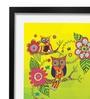 Pickypomp Paper 8 x 12 Inch Cute Owl in Green Framed Wall  Digital Art Print