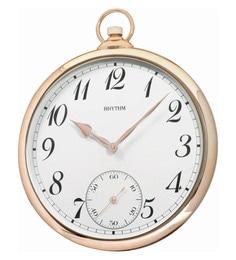 Plastic 14 X 1.7 X 16.7 Inch Wall Clock Convex Glass Sub-Second Hand Analog Pink Gold Clock