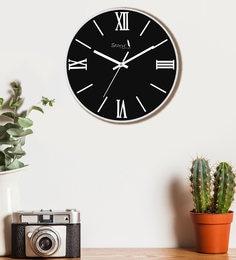 Plastic Black  Premium Quality Solid Black Elegant Roman Numeral Design Wall Clock