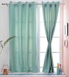 Plus Design Blue Color Dupion Silk Premium Eyelet 5 X38 Feet Window Curtain