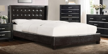 Platform Style Chic Queen Size Bed In Black Leatherette